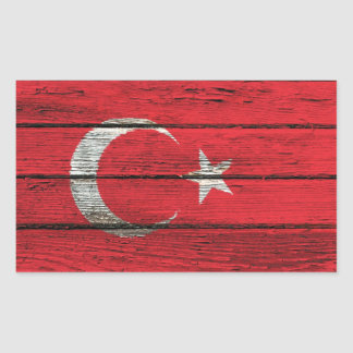 Turkish Flag with Rough Wood Grain Effect Sticker