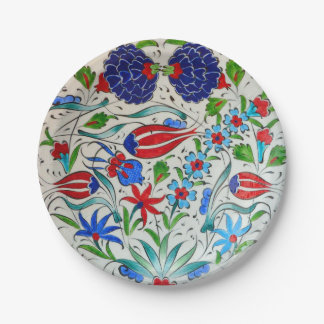 Turkish floral design 7 inch paper plate