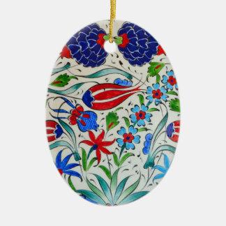 Turkish floral design ceramic oval ornament