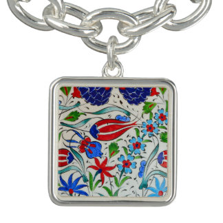 Turkish floral design charm bracelet