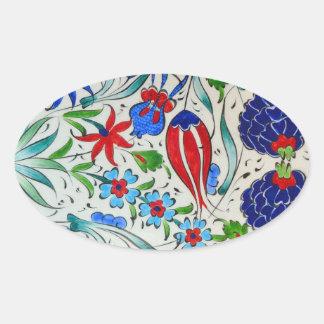 Turkish floral design oval sticker