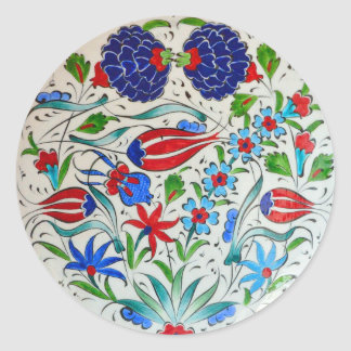 Turkish floral design round sticker