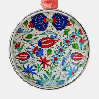 Turkish floral design Silver-Colored round ornament