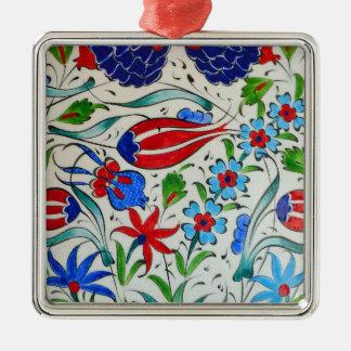 Turkish floral design Silver-Colored square ornament
