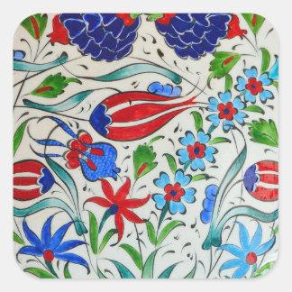 Turkish floral design square sticker