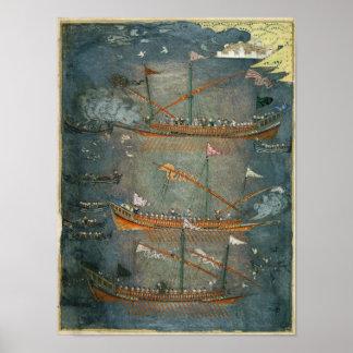 Turkish galleys in battle, c.1636 poster