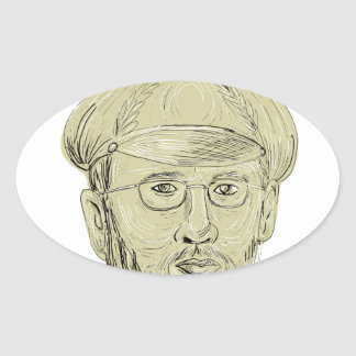 Turkish General Head Drawing Oval Sticker