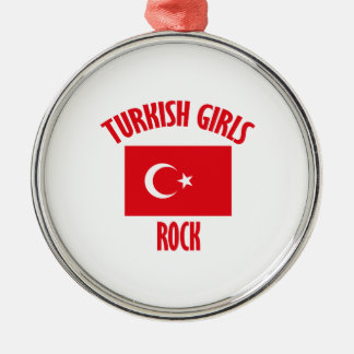 Turkish girls DESIGNS Silver-Colored Round Ornament