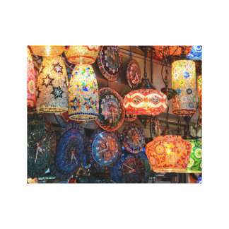 Turkish Glass Lamps for Sale in Istanbul Market Canvas Print