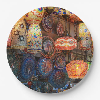 Turkish Glass Lamps for Sale in Istanbul Market Paper Plate