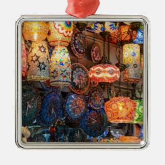 Turkish Glass Lamps for Sale in Istanbul Market Silver-Colored Square Ornament