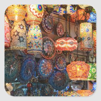 Turkish Glass Lamps for Sale in Istanbul Market Square Sticker