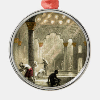 Turkish Hamam Silver-Colored Round Ornament