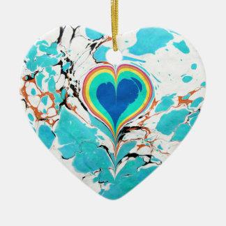 Turkish Heart Water Marbling Ceramic Heart Ornament