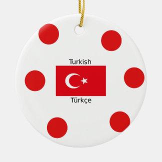 Turkish Language And Turkey Flag Design Ceramic Ornament