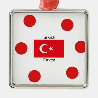 Turkish Language And Turkey Flag Design Metal Ornament