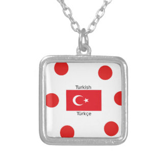 Turkish Language And Turkey Flag Design Silver Plated Necklace