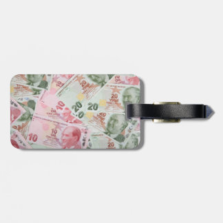 Turkish Money Background Luggage Tag
