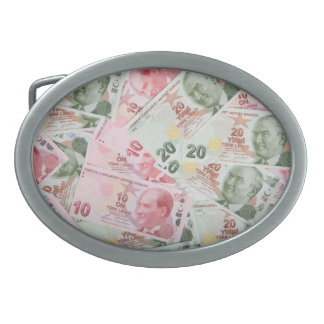 Turkish Money Background Oval Belt Buckle