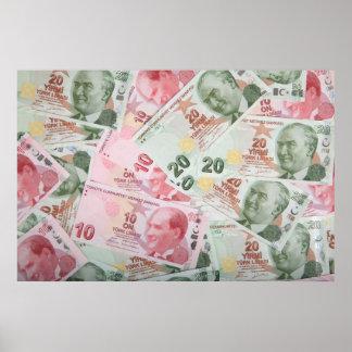 Turkish Money Background Print