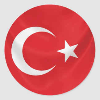 turkish national flag classic round sticker