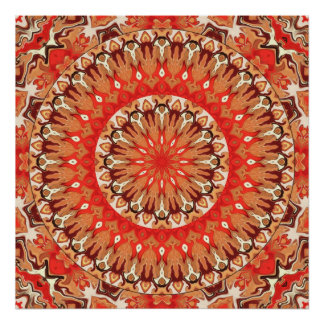 Turkish Red and Cocoa Mandala Poster