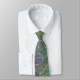 Turkish Sea Paisley Peacock Colors Wedding Tie