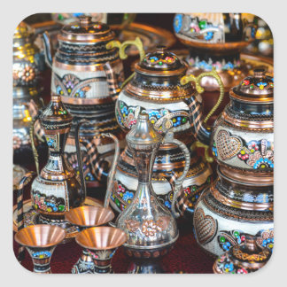 Turkish Teapots for Sale in Istanbul Turkey Square Sticker