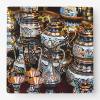 Turkish Teapots for Sale in Istanbul Turkey Square Wall Clock