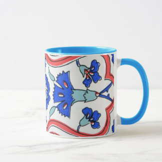 Turkish Tile Blue Carnation Pattern Mug