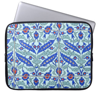 "Turkish Turquoise Border Tile Pattern 15"" Laptop S Laptop Sleeve"