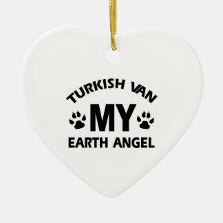 TURKISH VAN cat Ceramic Heart Ornament