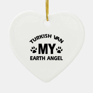 Turkish van cat design ceramic heart ornament