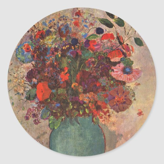 Turkish Vase, Odilon Redon, Vintage Flowers Floral Classic Round Sticker