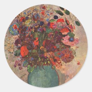Turkish Vase, Odilon Redon, Vintage Flowers Floral Round Sticker