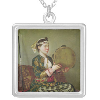 Turkish Woman with a Tambourine Silver Plated Necklace