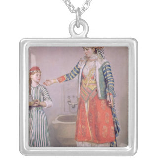 Turkish Woman with her Servant Silver Plated Necklace