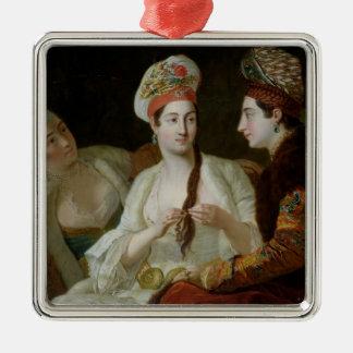 Turkish Women Silver-Colored Square Ornament