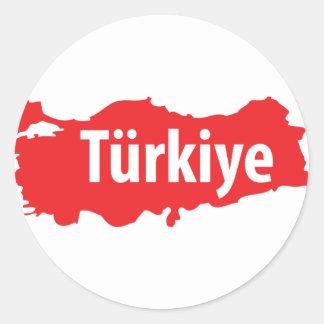 Türkiye contour icon classic round sticker
