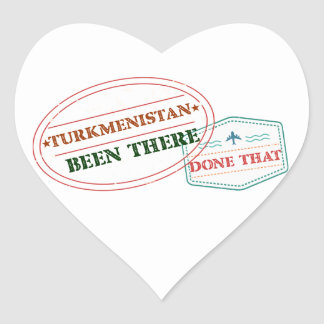 Turkmenistan Been There Done That Heart Sticker
