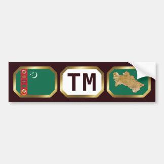 Turkmenistan Flag Map Code Bumper Sticker