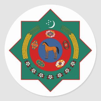 Turkmenistan Official Coat Of Arms Heraldry Symbol Classic Round Sticker