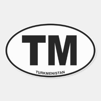 Turkmenistan TM Oval ID Identification Initials Oval Sticker