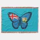 Turks and Caicos Butterfly Flag Throw Blanket