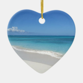 Turks and Caicos Dream Beach Ceramic Heart Ornament