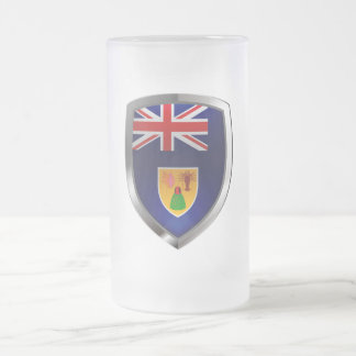 Turks and Caicos Islands Metallic Emblem Frosted Glass Beer Mug