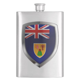 Turks and Caicos Islands Metallic Emblem Hip Flask