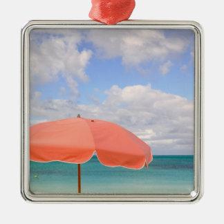 Turks and Caicos, Providenciales Island, Grace Silver-Colored Square Ornament