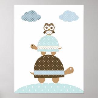 Turle owl baby boy kids nursery art poster