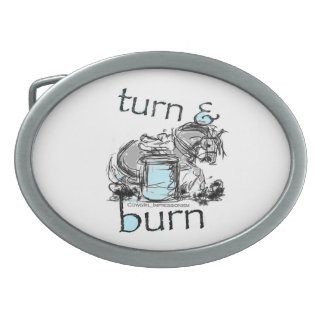Turn and Burn Barrel Racing Oval Belt Buckles